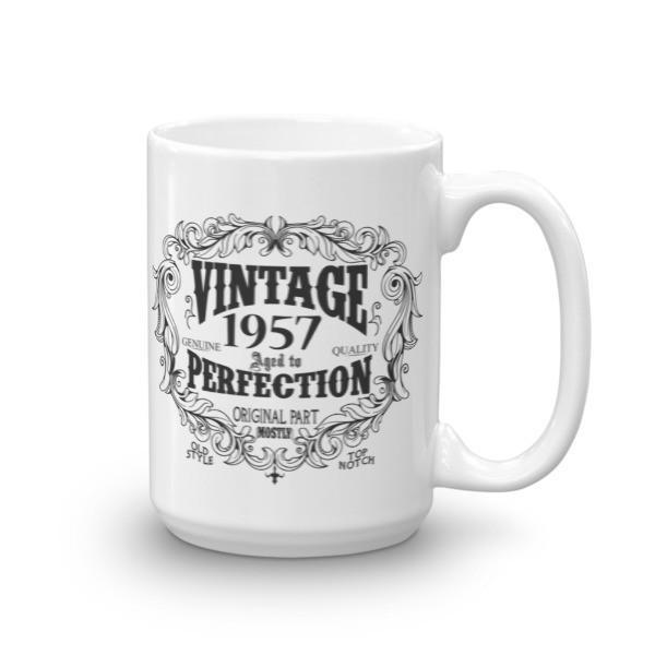 Born in 1957 63 years old Coffee Mug Size: 15ozColor: White