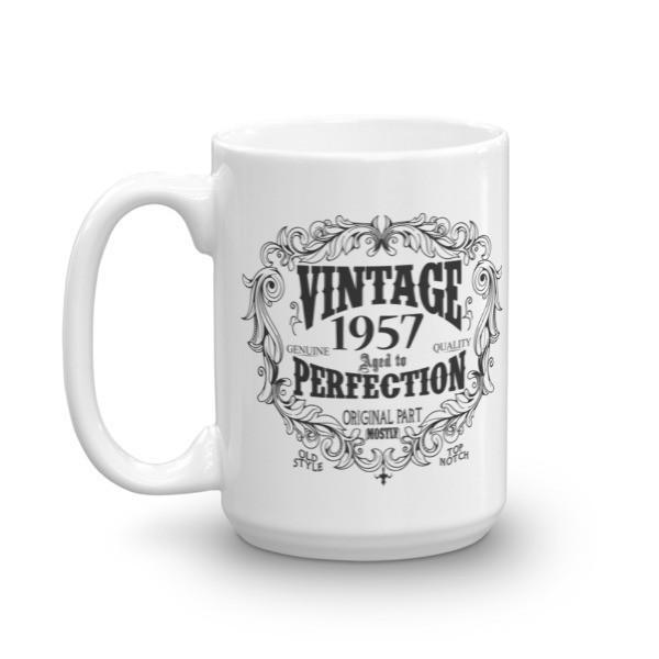 Born in 1957 63 years old Coffee Mug Size: 11oz, 15ozColor: White, Black