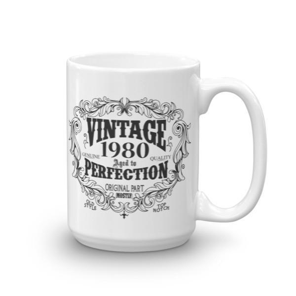 Born in 1980 40 years old Coffee Mug Size: 15ozColor: White