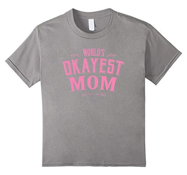 Pink World's Okayest Mom Funny T-shirt Heather Grey / XL T-Shirt BelDisegno
