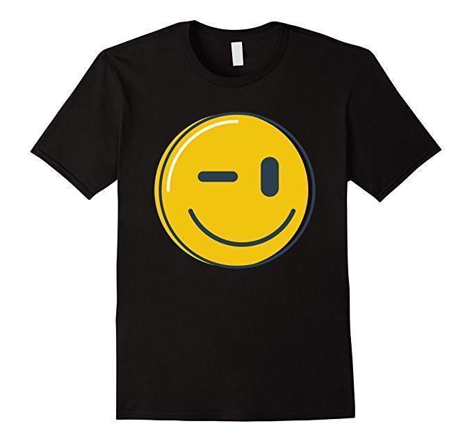 Wink Face Smile Emoji T-shirt Black / 3XL T-Shirt BelDisegno