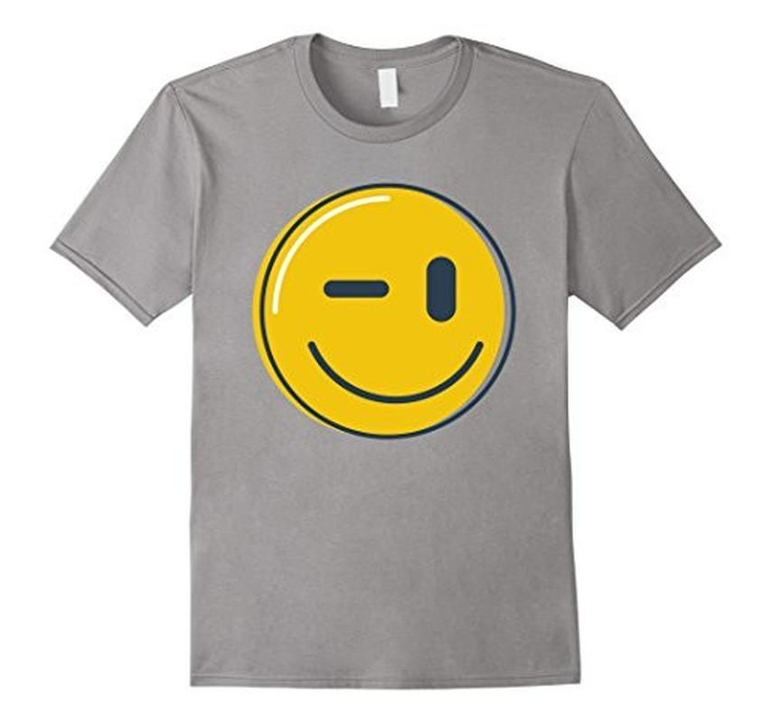Wink Face Smile Emoji T-shirt Heather Grey / 3XL T-Shirt BelDisegno