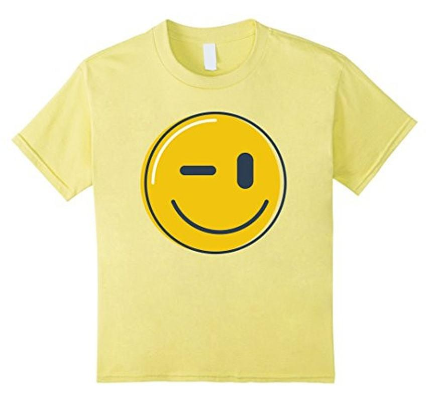 Wink Face Smile Emoji T-shirt Lemon / 3XL T-Shirt BelDisegno