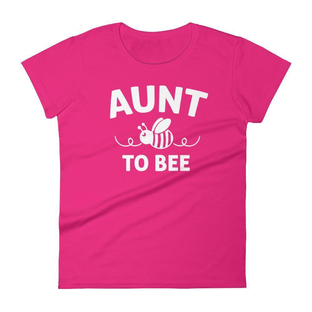 Women's Aunt to bee tshirt gifts for first time Aunt-T-Shirt-BelDisegno-Hot Pink-S-BelDisegno