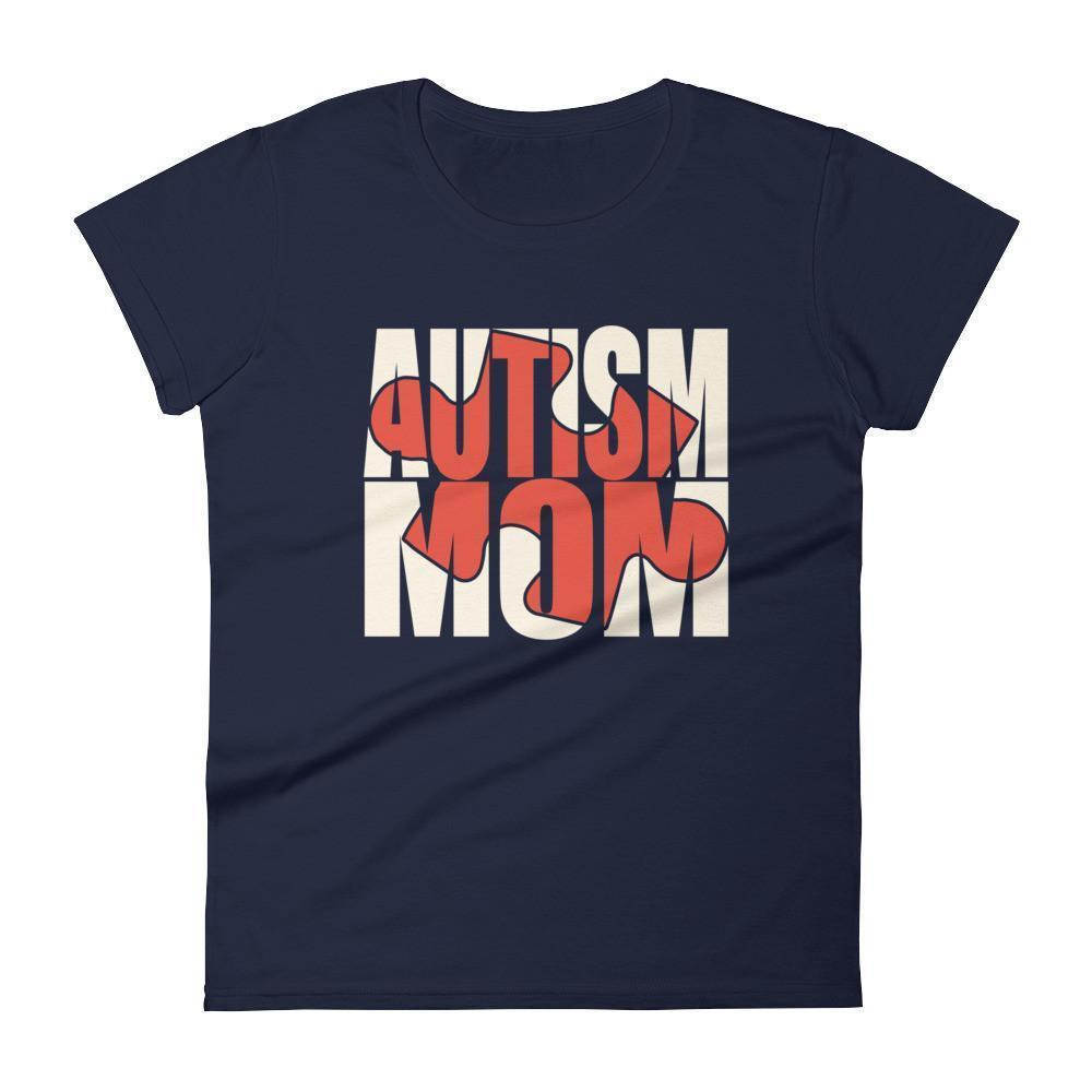 Women's Autism Mom Autism Awareness Day gift for mother of autistic Child TShirt-T-Shirt-BelDisegno-Navy-S-Women-BelDisegno