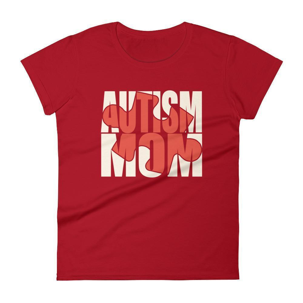 Women's Autism Mom Autism Awareness Day gift for mother of autistic Child TShirt-T-Shirt-BelDisegno-Red-S-Women-BelDisegno