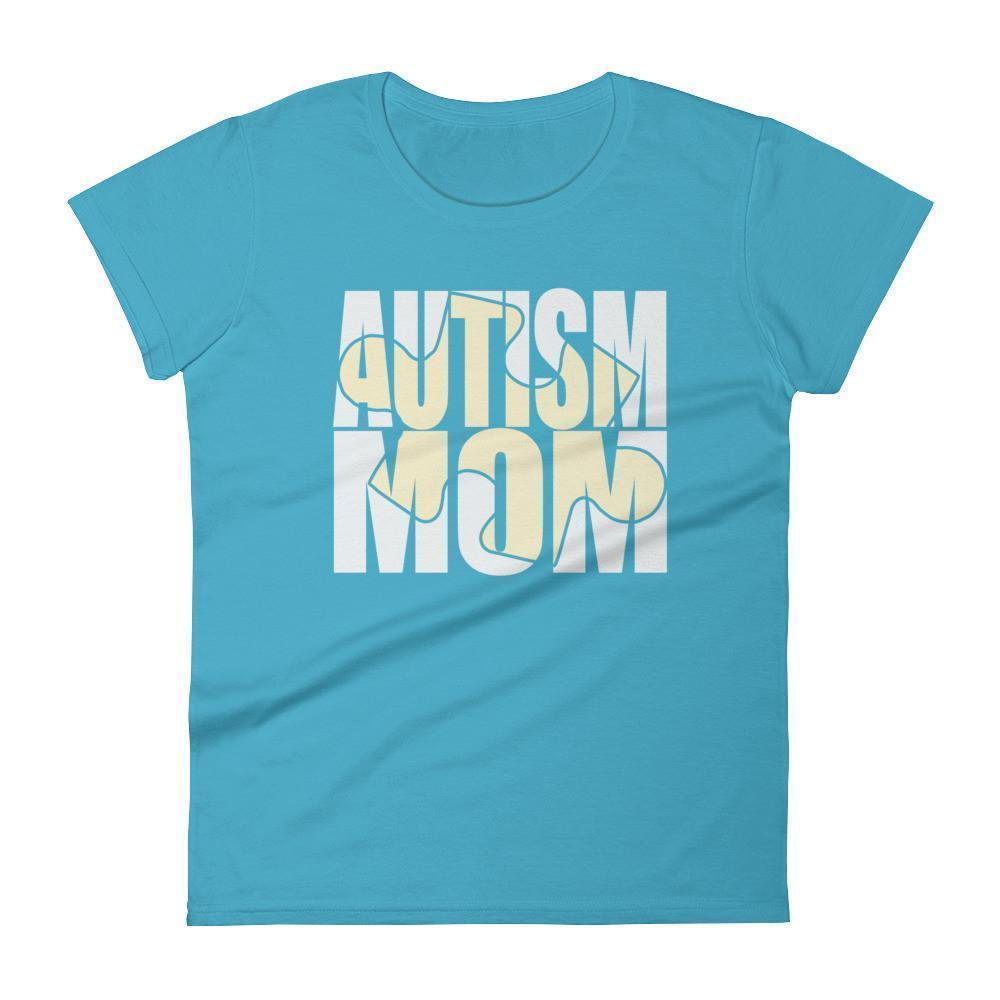 Women's Autism Mom New Autism Awareness Gift for mother of autistic Child TShirt-T-Shirt-BelDisegno-Caribbean Blue-S-Women-BelDisegno