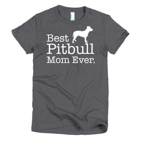 Women's Best Pitbull Mom Ever Dog Lover TShirt-T-Shirt-BelDisegno-Asphalt-S-Women-BelDisegno