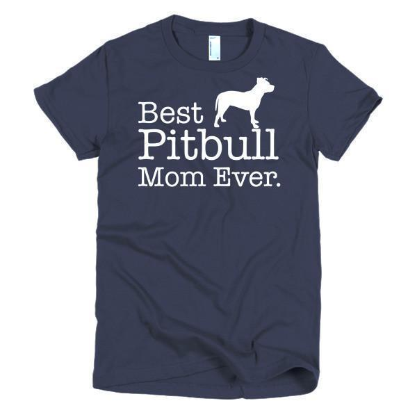 Women's Best Pitbull Mom Ever Dog Lover TShirt-T-Shirt-BelDisegno-Navy-S-Women-BelDisegno