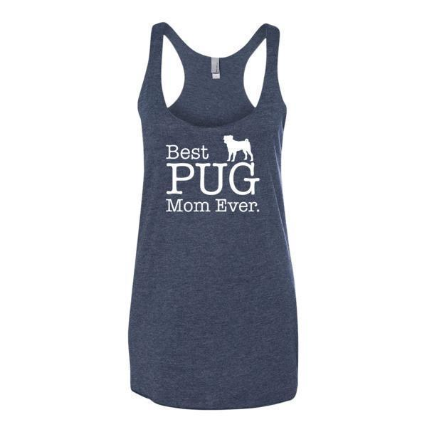 Women's Best PUG Mom Ever Dog Lover Gift Tank Top-Tank Top-BelDisegno-Vintage Navy-XS-BelDisegno