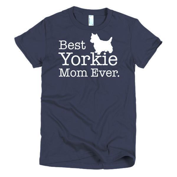 Women's Best Yorkie Mom Ever Dog Lover TShirt-T-Shirt-BelDisegno-Navy-S-Women-BelDisegno