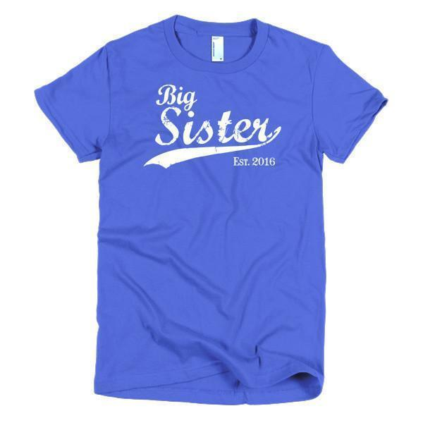 Big Sister Est 2016 T-shirt Color: Royal BlueSize: SFit Type: Women