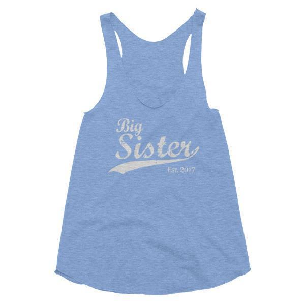 Women's Big Sister Est 2017 Tank Top-Tank Top-BelDisegno-Athletic Blue-XS-BelDisegno
