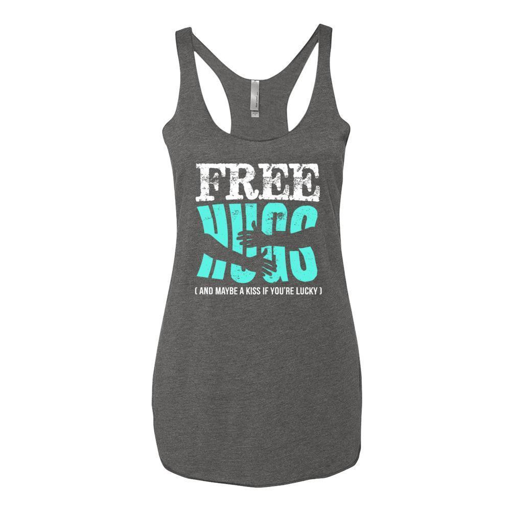 Women's Free Hugs and Maybe a Kiss if You're Lucky Tank Top Premium Heather / XL Tank Top BelDisegno