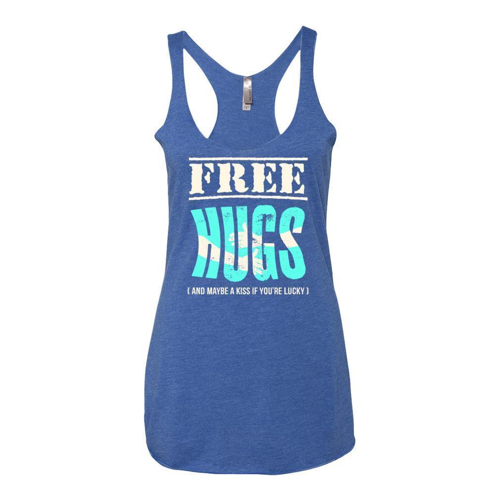 Women's Free Hugs and Maybe a Kiss if You're Lucky Tank Top Vintage Royal / XL Tank Top BelDisegno