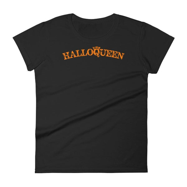 Women's Funny Halloween Shirt with Saying Halloqueen Black / 2XL T-Shirt BelDisegno