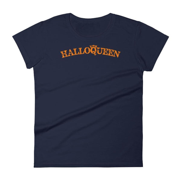 Women's Funny Halloween Shirt with Saying Halloqueen Navy / 2XL T-Shirt BelDisegno