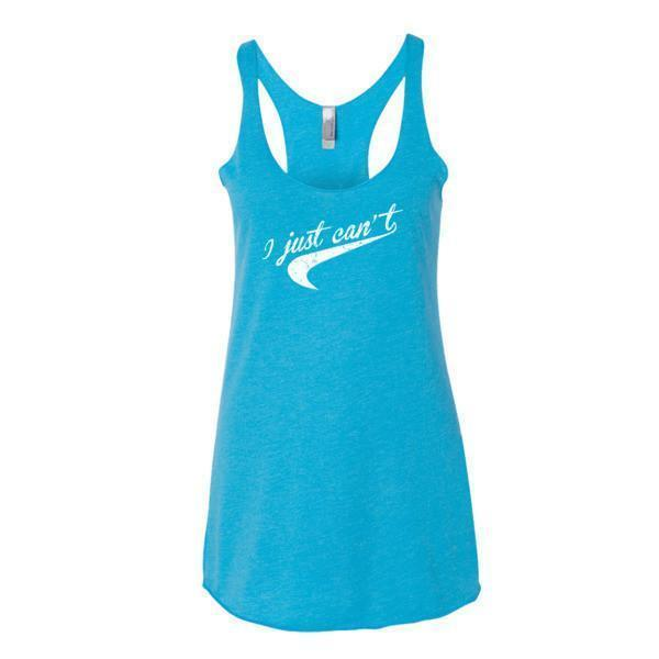 Women's I Just Can't. Nice Parody distressed Tail graphic Tank Top Vintage Turquoise / XL Tank Top BelDisegno