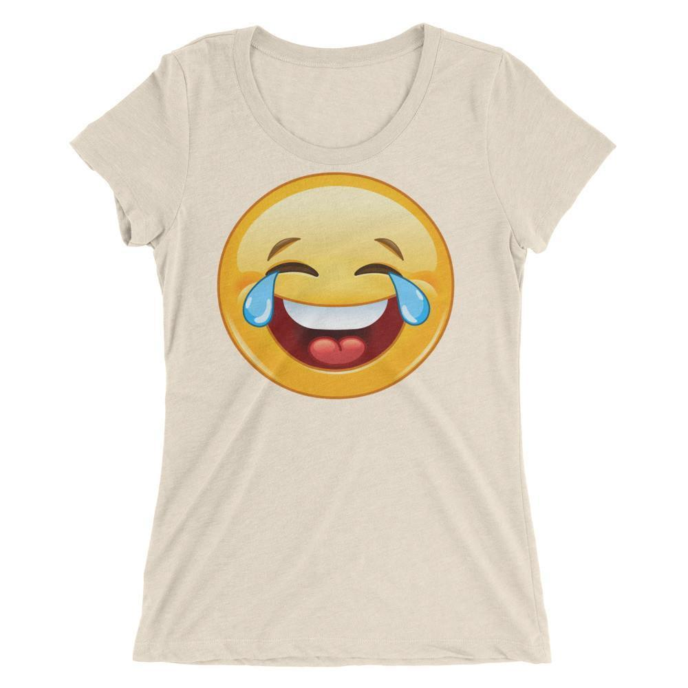 Women's Laugh Smile Tears Emoji Emoticon Ladies' Tee T-shirt Oatmeal Triblend / 2XL T-Shirt BelDisegno