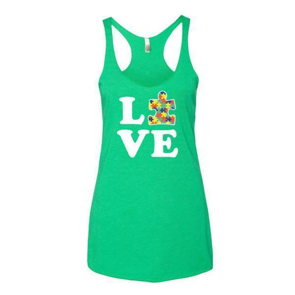 Women's Love Autism Autism Awareness Tank Top Envy / XL Tank Top BelDisegno