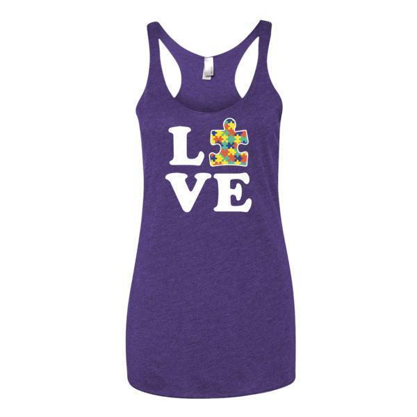 Women's Love Autism Autism Awareness Tank Top Purple Rush / XL Tank Top BelDisegno