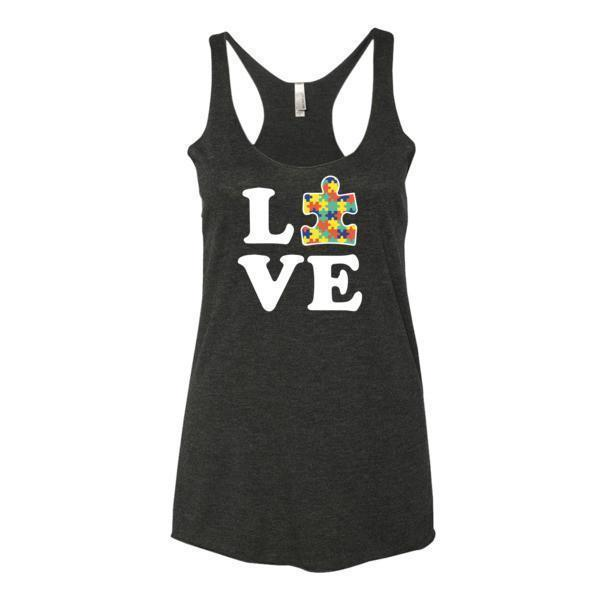 Women's Love Autism Autism Awareness Tank Top Vintage Black / XL Tank Top BelDisegno