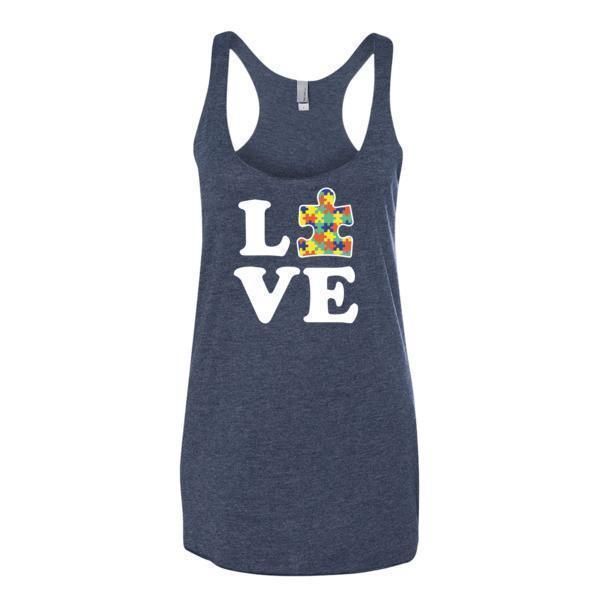 Women's Love Autism Autism Awareness Tank Top Vintage Navy / XL Tank Top BelDisegno