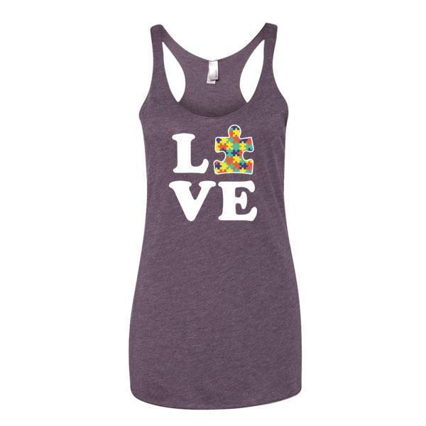 Women's Love Autism Autism Awareness Tank Top Vintage Purple / XL Tank Top BelDisegno