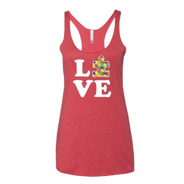 Women's Love Autism Autism Awareness Tank Top Vintage Red / XL Tank Top BelDisegno