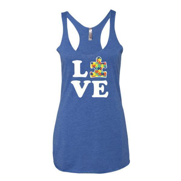Women's Love Autism Autism Awareness Tank Top Vintage Royal / XL Tank Top BelDisegno