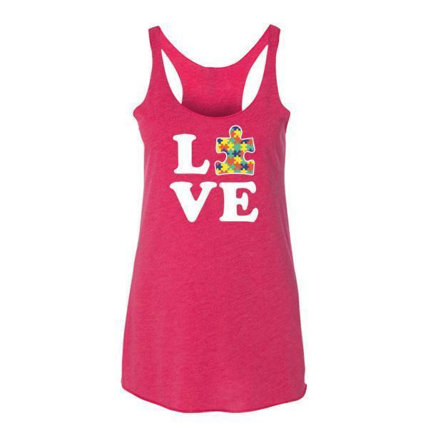 Women's Love Autism Autism Awareness Tank Top Vintage Shocking Pink / XL Tank Top BelDisegno