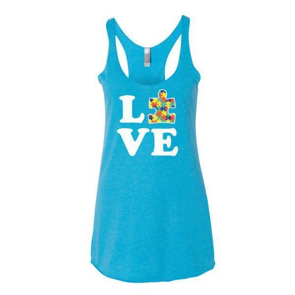 Women's Love Autism Autism Awareness Tank Top Vintage Turquoise / XL Tank Top BelDisegno