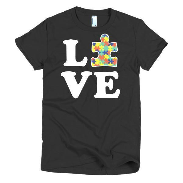Women's Love Autism Autism Awareness T-shirt Black / 2XL / Women T-Shirt BelDisegno