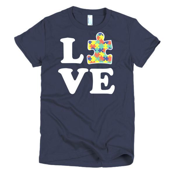 Women's Love Autism Autism Awareness T-shirt Navy / 2XL / Women T-Shirt BelDisegno