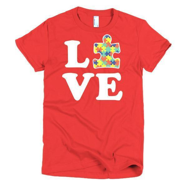 Women's Love Autism Autism Awareness T-shirt Red / 2XL / Women T-Shirt BelDisegno