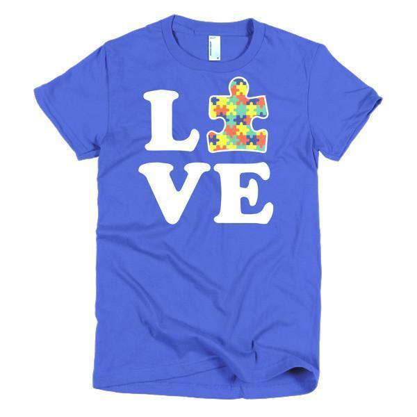 Women's Love Autism Autism Awareness T-shirt Royal Blue / 2XL / Women T-Shirt BelDisegno