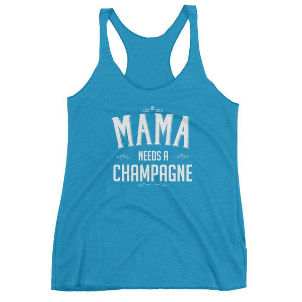 Women's Mama Needs a Champagne tank top-Tank Top-BelDisegno-Vintage Turquoise-XS-BelDisegno
