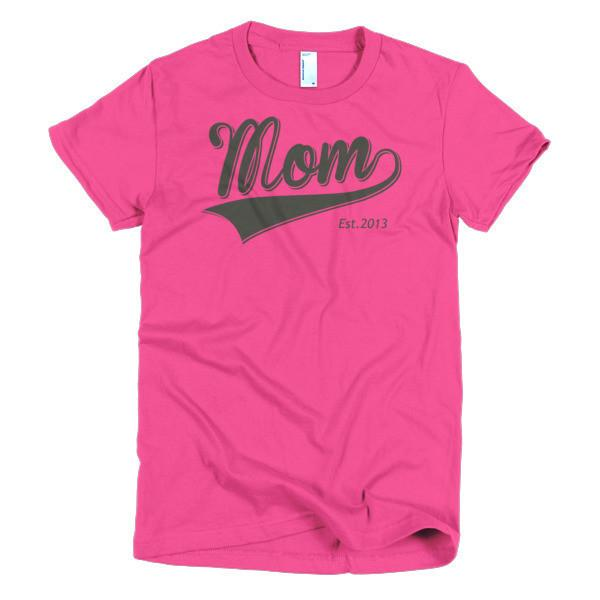 Women's Mom Est 2013 T-shirt Hot Pink / 2XL / Women T-Shirt BelDisegno
