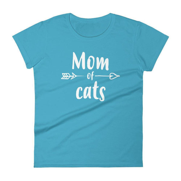 Women's Mom of Cats tshirt Gift for cat lovers owners Caribbean Blue / 2XL T-Shirt BelDisegno