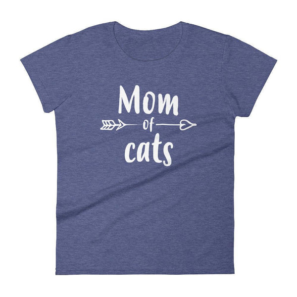 Women's Mom of Cats tshirt Gift for cat lovers owners Heather Blue / 2XL T-Shirt BelDisegno