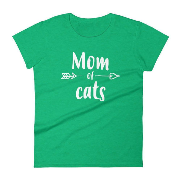Women's Mom of Cats tshirt Gift for cat lovers owners Heather Green / 2XL T-Shirt BelDisegno