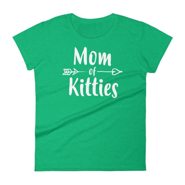 Women's Mom of Kitties tshirt Gift for cat lovers cat owners Heather Green / 2XL T-Shirt BelDisegno