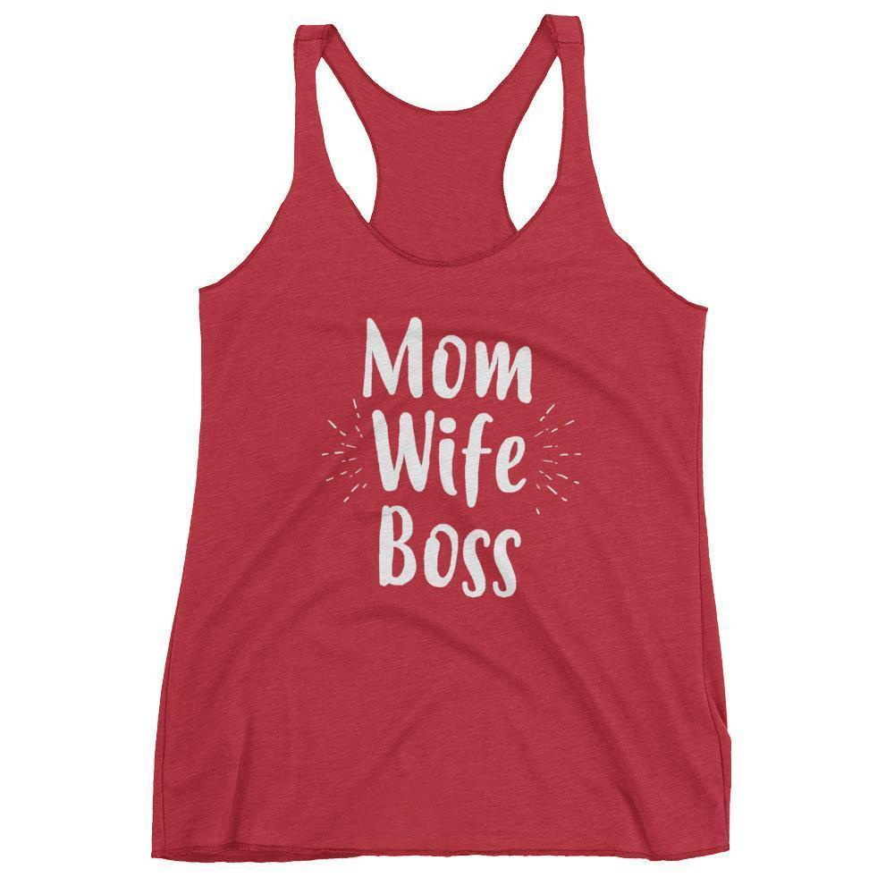 Women's Mom Wife Boss tank top Funny Mom gift for Birthday or mother's day Vintage Red / XL Tank Top BelDisegno
