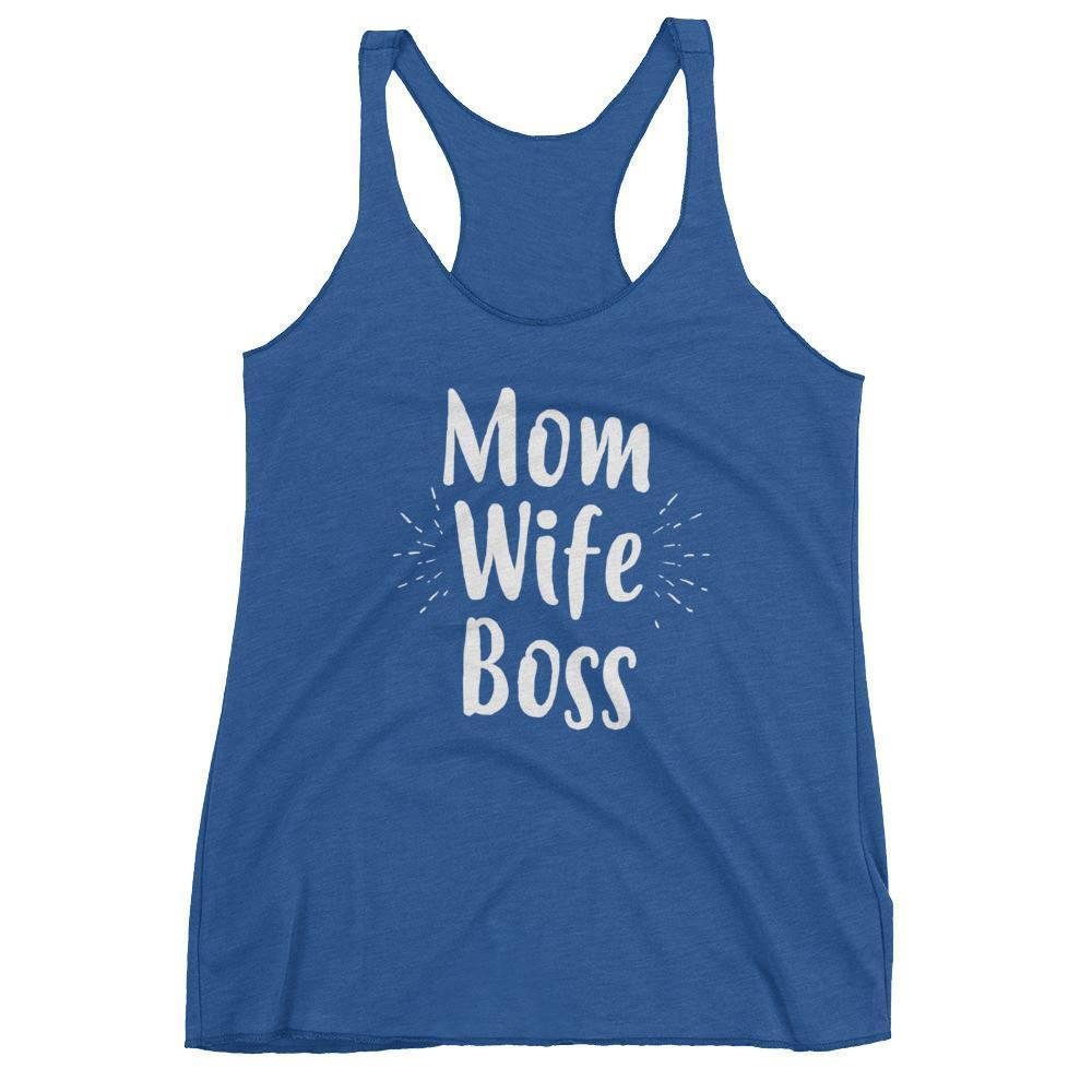 Women's Mom Wife Boss tank top Funny Mom gift for Birthday or mother's day Vintage Royal / XL Tank Top BelDisegno