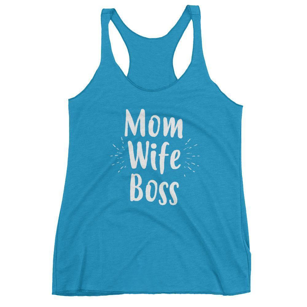 Women's Mom Wife Boss tank top Funny Mom gift for Birthday or mother's day Vintage Turquoise / XL Tank Top BelDisegno