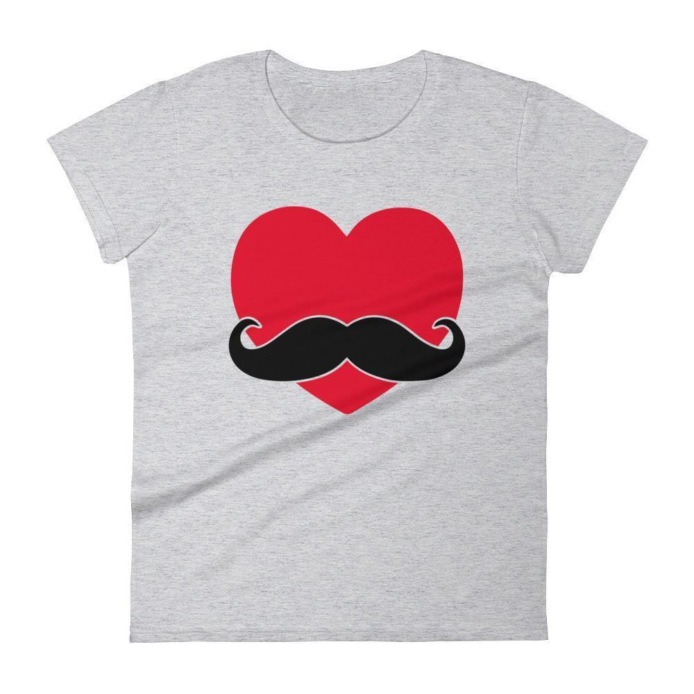 Women's Mustache Heart Valentines Day Valentines Day Gifts T-shirt Heather Grey / 2XL / Women T-Shirt BelDisegno