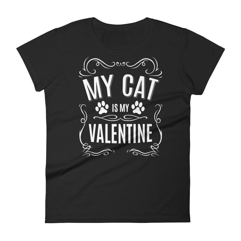 Women's My CAT is my Valentine Valentines Day Gifts for cat lovers T-shirt Black / 2XL / Women T-Shirt BelDisegno
