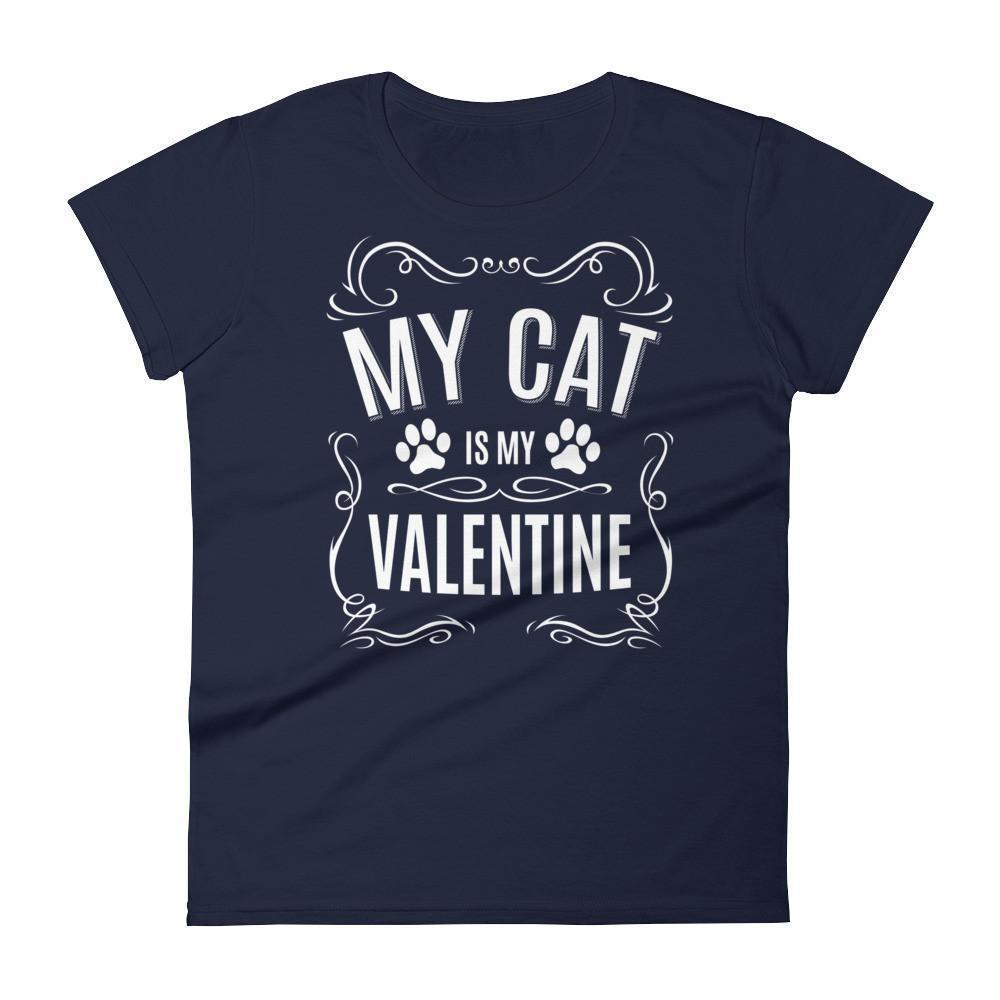 Women's My CAT is my Valentine Valentines Day Gifts for cat lovers T-shirt Navy / 2XL / Women T-Shirt BelDisegno
