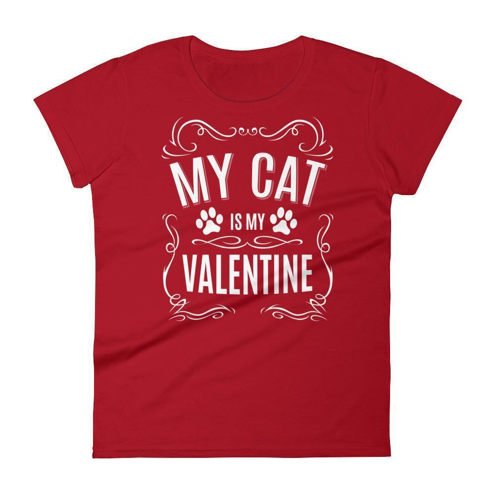 Women's My CAT is my Valentine Valentines Day Gifts for cat lovers T-shirt Red / 2XL / Women T-Shirt BelDisegno