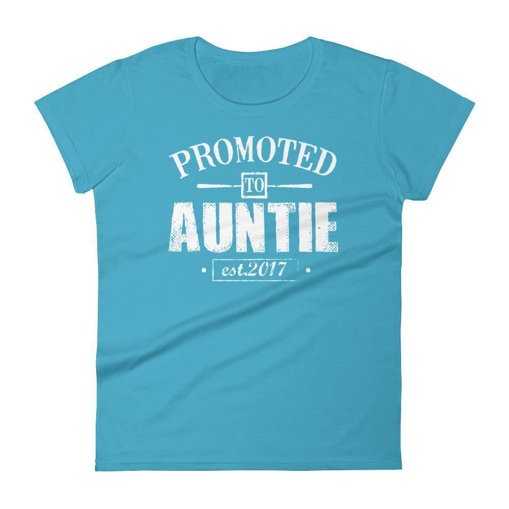 Women's Promoted to Auntie Est 2017 tshirt gift for new aunt to be-T-Shirt-BelDisegno-Caribbean Blue-S-BelDisegno